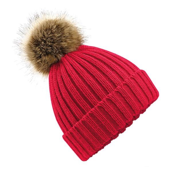 Pop Pom Chunky Beanie (Pudelmütze) rot